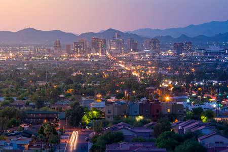 Foto de Top view of downtown Phoenix Arizona at sunset in USA - Imagen libre de derechos