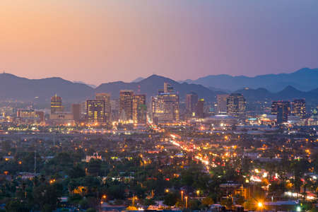 Foto de Top view of downtown Phoenix Arizona at sunset in USA - Imagen libre de derechos