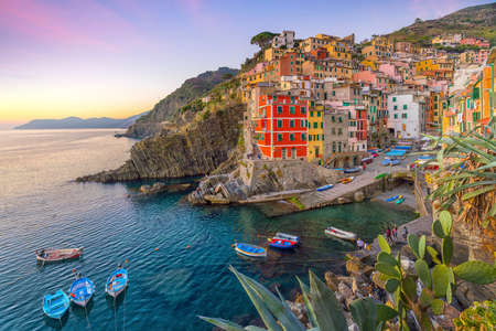 Photo for Riomaggiore, the first city of the Cique Terre sequence of hill cities in Liguria, Italy - Royalty Free Image