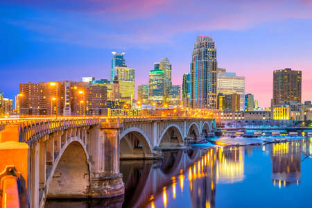 Photo for Minneapolis downtown skyline in Minnesota, USA at sunset - Royalty Free Image