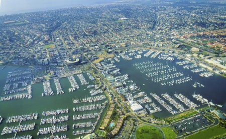 Foto de Aerial view of the Marina in Point Loma peninsula, San Diego, Southern California, United States of America - Imagen libre de derechos
