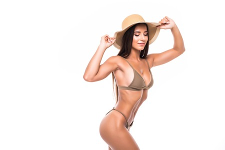 Photo for Portrait of pretty sexy woman in straw hat on white background. Enjoying her summer vacations. - Royalty Free Image