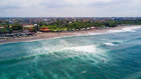 Foto de Aerial panorama of the beach of Canggu beach , Bali, Indonesia - Imagen libre de derechos