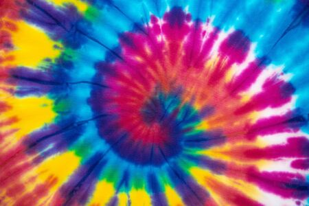 Photo for Tie Dye spiral vibrant and gradient rainbow multicolor , hippie shirt pattern . abstract fabric texture and background . - Royalty Free Image