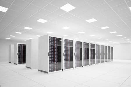 Foto de Data Center with 4 rows of servers and white floor - Imagen libre de derechos
