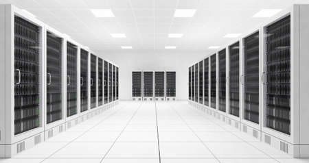 Foto de Datacenter with two rows of computers in white room - Imagen libre de derechos