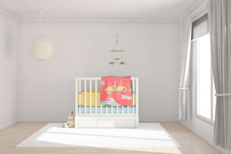 Photo pour Children room with toys and small bed - image libre de droit