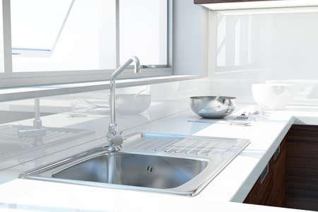 Foto de Modern white kitchen with sink and window - Imagen libre de derechos