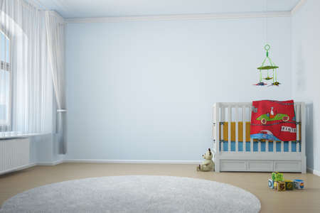 Photo pour Nursery room with crip toys and window with curtain - image libre de droit