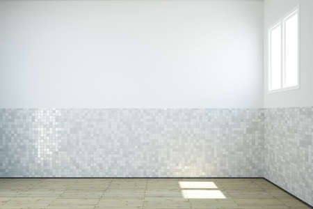 Foto de Empty bathroom with windows and tiles on wall and wooden floor - Imagen libre de derechos