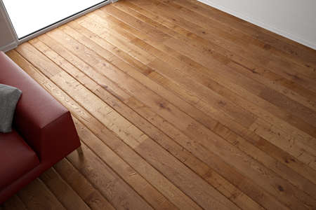 Foto de Wooden floor texture with red leather couch and pillow - Imagen libre de derechos