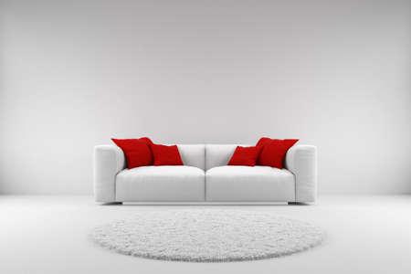 Foto de White couch with red pillows and carpet with copy space - Imagen libre de derechos