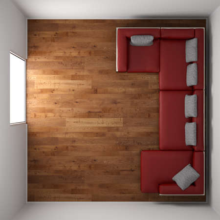 Photo for Wooden floor texture with red leather couch and pillow top view - Royalty Free Image