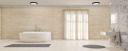Photo pour Bathroom with curtains bath tub and carpet - image libre de droit