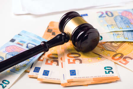 Foto de Court Gavel and euro money. Crime and fraud concept - Imagen libre de derechos