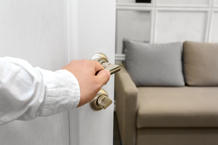 Photo for Man open the door - Royalty Free Image