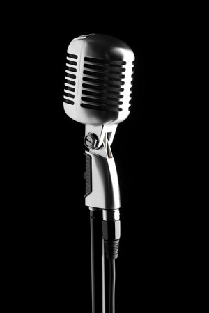 Photo for vintage microphone over black - Royalty Free Image