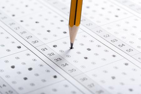 Photo pour Test score sheet with answers - image libre de droit