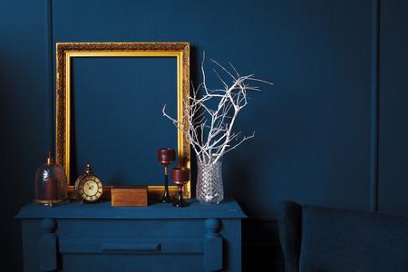 Photo pour modern living room details of dark blue color - image libre de droit