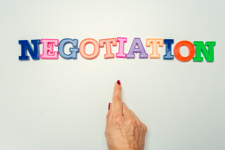 Photo for Word negotiation written in colorful plastic letters on white background - Royalty Free Image