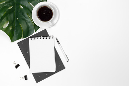 Photo for Blank office desk background with copy space for your text. Top view. - Royalty Free Image