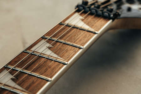 Photo for Guitar fingerboard with strings close up photo - Royalty Free Image