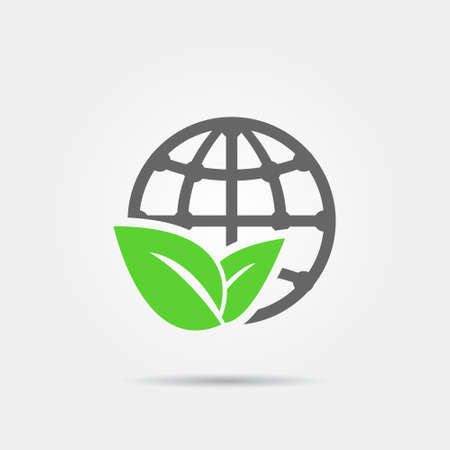 Illustration for Earth and leaf icon - Royalty Free Image