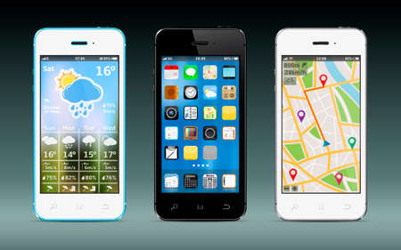 Illustration pour Smart phones with apps icons, weather and GPS navigation widgets - image libre de droit