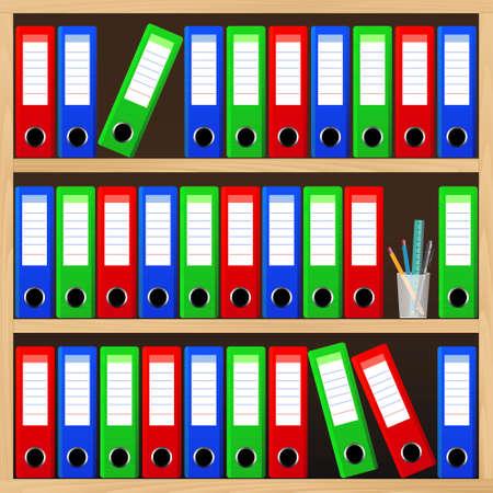 Ilustración de Wooden shelves with file folders. - Imagen libre de derechos