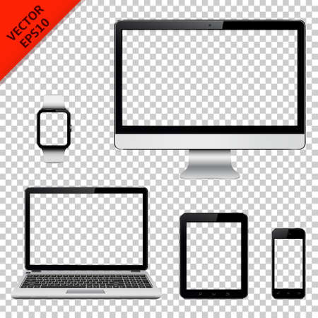 Illustration pour Computer monitor, laptop, tablet pc, mobile phone and smart watch with transparent screen. Isolated on transparent background. illustration. - image libre de droit
