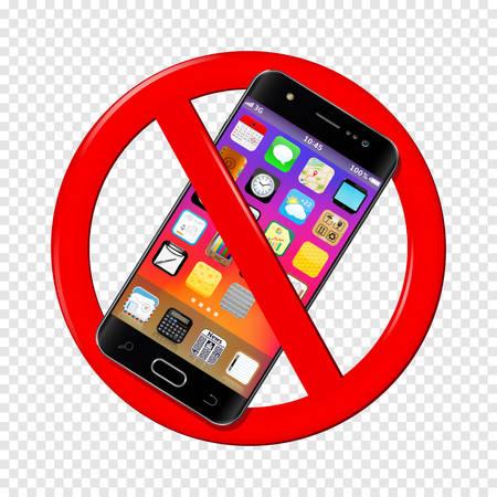 Illustration pour No cell phone sign isolated on transparent illustration. - image libre de droit