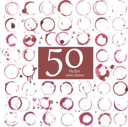 Ilustración de Vector set of wine stains. - Imagen libre de derechos
