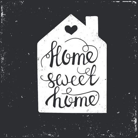 Illustration pour Hand drawn typography poster. Conceptual handwritten phrase Home Sweet Home.T shirt hand lettered calligraphic design. Inspirational vector typography. - image libre de droit