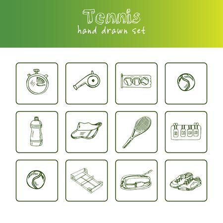 Ilustración de Tennis hand drawn doodle set. - Imagen libre de derechos