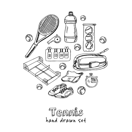 Ilustración de Tennis hand drawn doodle set. Sketches. Vector illustration for design and packages product. Symbol collection - Imagen libre de derechos