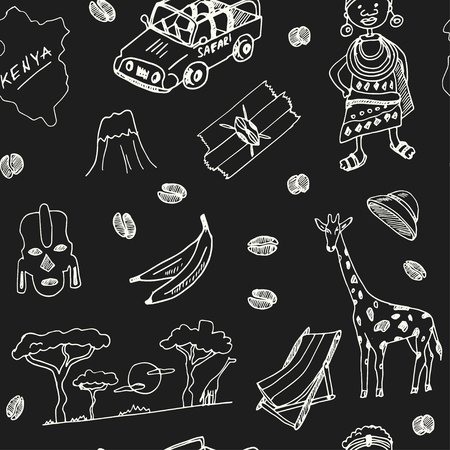 Illustration pour Kenya hand drawn doodle seamless, pattern.. Sketches. Vector illustration for design and packages product. Symbol collection. - image libre de droit