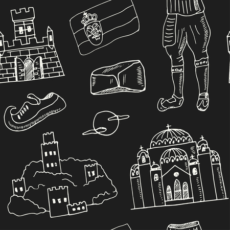 Illustration pour Serbia hand drawn doodle seamless, pattern. Sketches. Vector illustration for design and packages product. Symbol collection. - image libre de droit