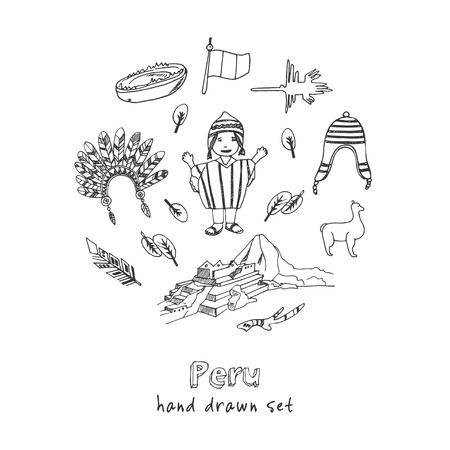 Illustration for Peru hand drawn doodle set. Sketches. Vector illustration for design and packages product. Symbol collection. - Royalty Free Image