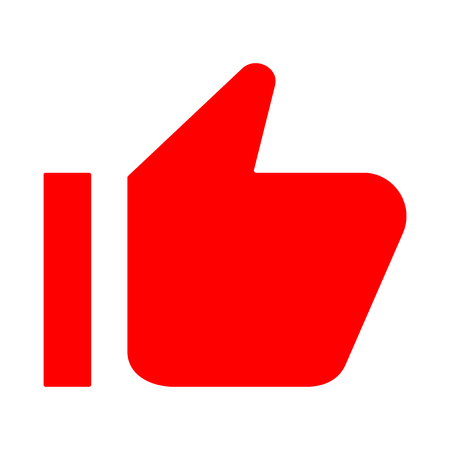 Illustrazione per Red thumb up icon. Like, approval. Vector - Immagini Royalty Free