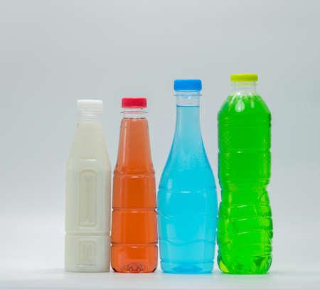 Foto de Modern design bottles of soft drink and soy milk on white background - Imagen libre de derechos