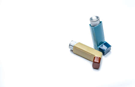 Photo for Asthma inhaler. Asthma controller, reliever equipment. Steroids and bronchodilator drug for asthma and chronic bronchitis. Budesonide aerosol CFC free for bronchial antiasthmatic. Salbutamol inhalers. - Royalty Free Image