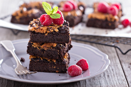 Photo for Brownies with peanut butter and chocolate drops - Royalty Free Image
