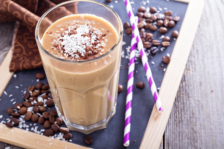 Photo pour Coconut coffee chocolate smoothie - image libre de droit