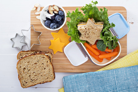 Photo for Lunch box with sandwich and salad - Royalty Free Image