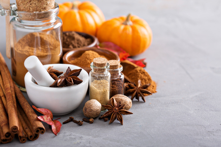 Photo for Homemade pumpkin pie spice in a glass jar - Royalty Free Image