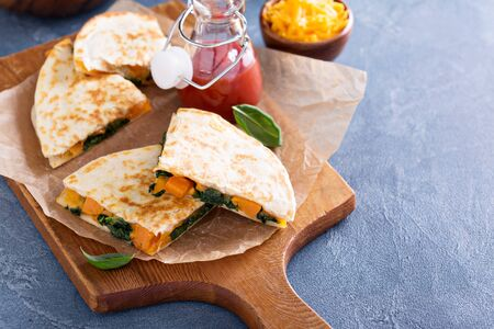 Photo for Quesadillas with cheddar, kale and sweet potato - Royalty Free Image
