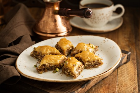 Photo for Homemade baklava with nuts and honey syrup - Royalty Free Image
