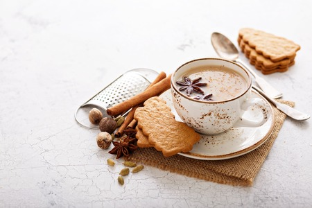 Photo pour Masala tea in ceramic cup with winter spices and gingerbread cookies - image libre de droit