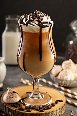 Photo for Iced coffee with whipped cream - Royalty Free Image