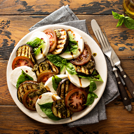 Photo for Summer caprese salad with grilled eggplant - Royalty Free Image